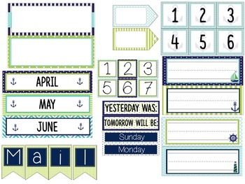 Nautical Themed Classroom Decor - Navy Blue, Lime Green, Teal