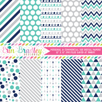 Navy Blue Turquoise Gray Digital Paper Pack