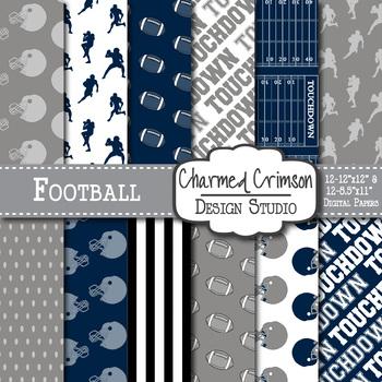 Navy Blue and Black Football Digital Paper 1423
