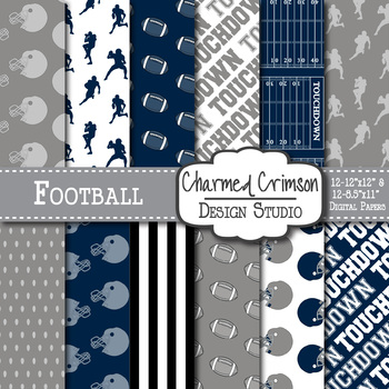 Navy Blue and Black Football Digital Paper 1423