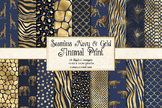 Navy Blue and Gold Animal Skins seamless digital paper patterns
