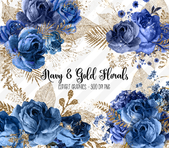 Navy Blue and Gold Glitter Floral Clipart vintage