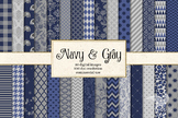 Navy Blue and Gray digital paper, printable backgrounds