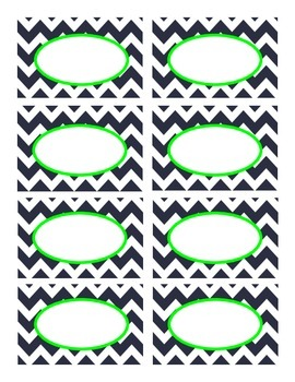 Navy Blue and Lime Green Chevron Labels