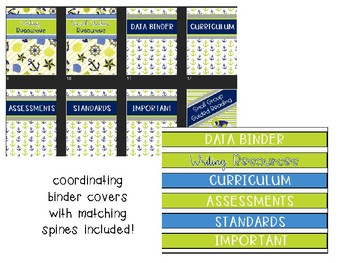 Navy Blue and Lime Green Nautical Classroom Decor Pack