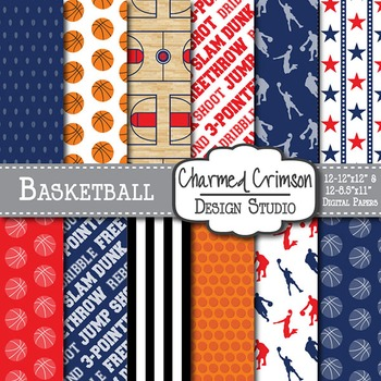 Navy Blue and Red Basketball Digital Paper 1319