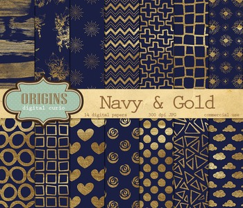 Navy Blue and gold paint digital paper scrapbook backgrounds