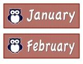 Navy Blue/Red Owl-Themed Calendar Months