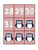 Navy Blue/Red Owl-Themed Calendar Numbers