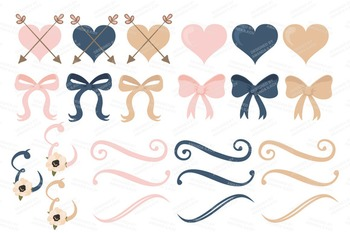 Navy & Blush Floral Bicycle Vectors - Flower Clipart, Peonies Clip Art, Poppies