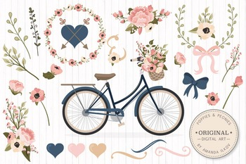 Navy & Blush Floral Bicycle Vectors - Flower Clipart, Peon
