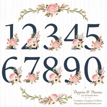 Navy & Blush Floral Numbers With Vectors - Flower Clip Art, Peonies Clipart