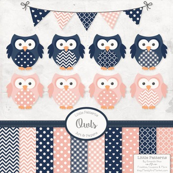 Navy & Blush Vector Owls & Papers - Baby Owl Clipart, Owl