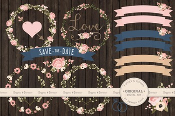 Navy And Blush Wedding.Navy Blush Wedding Floral Clipart Vectors Flower Clip Art Banners