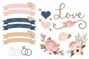 Navy & Blush Wedding Floral Clipart & Vectors - Flower Clip Art, Banners