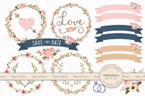 Navy & Blush Wedding Floral Clipart & Vectors - Flower Cli
