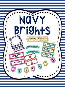 Navy Brights Classroom Decor Bundle