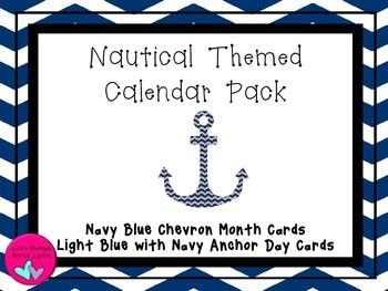 Navy Chervon Nautical Themed Calender Set