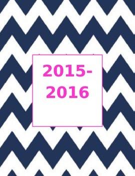 Navy Chevron 2015- 2016 Calendar