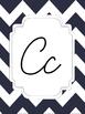 Navy Chevron Cursive Alphabet