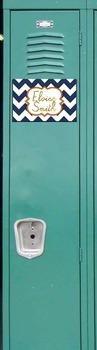 Preppy Navy Chevron/ Gold Foil font Name Tag & Locker Tag