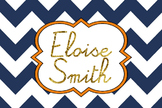 Preppy Navy Chevron/ Gold Foil font Name Tag & Locker Tag