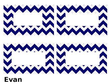 Navy Chevron Name Tag Labels
