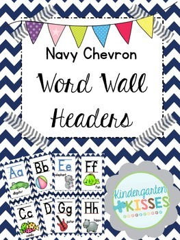 Navy Chevron Word Wall Headers