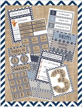 Navy Chevron and Burlap Bundle