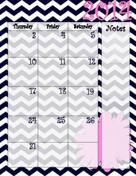Navy Chevron and Pink Calendar July 2014 - July 2015