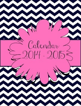 Navy Chevron and Pink Calendar July 2014 - July 2015