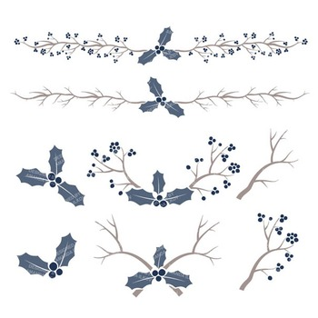 Navy Christmas Holly Clipart