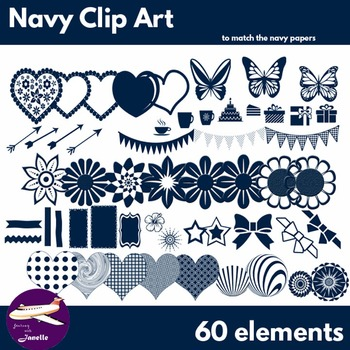 Navy Clip Art Decoration Scrapbooking Elements - 60 items
