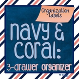 3-drawer Organizer Box Labels -- Navy & Coral