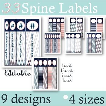 Navy & Coral -- Binder & Spines Labels