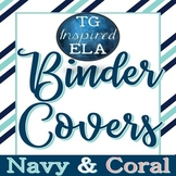 Navy & Coral -- Binder & Spines Labels