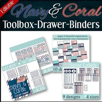 BUNDLE -- Navy & Coral Trio:  Toolbox -- 3-drawer Organizer -- Binder Covers