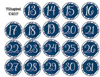 Navy & Coral -- Table/Desk/Calendar Numbers 1-31 & Editable Group Role Cards