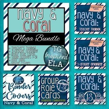 Navy &Coral Organization MEGA Bundle: SIX PRODUCTS