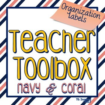 Navy & Coral --- Teacher's Tool Box Labels