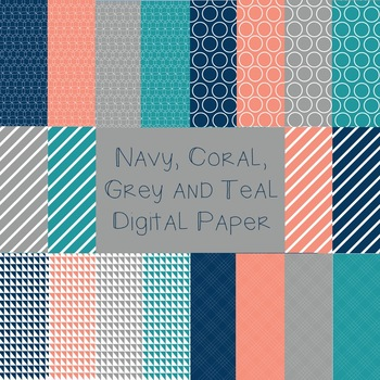 Navy, Coral, Grey and Teal Digital Paper