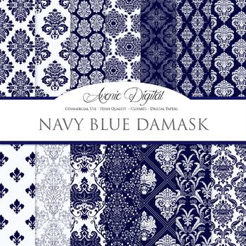 Navy Damask Digital Paper patterns - ornate wedding floral backgrounds