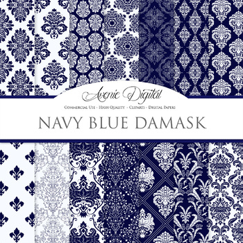 Navy Damask Digital Paper patterns - ornate wedding floral