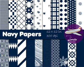 Navy Digital Papers for Backgrounds, Scrapbooking and Classroom Decorations