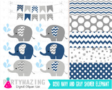 Navy Elephant Clip Art, Navy Blue and Gray Clip Art and Di