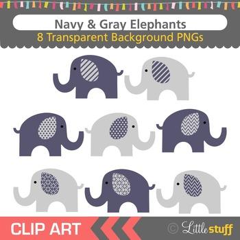 Navy & Gray Elephant Clipart, Elephant Clip Art