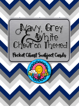 Navy Grey & White Chevron Themed Pocket Chart Subject Schedule Cards & Calendar