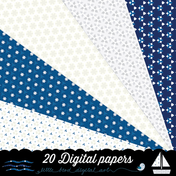 Navy, Ivory and Silver - 20 Digital Papers in Blue, Beige and Grey