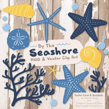 Navy & Lemon Coral & Seashells Clipart