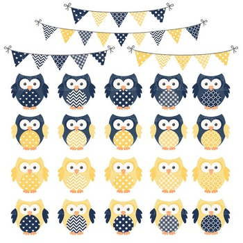 Navy & Lemon Vector Owls & Papers - Baby Owl Clipart, Owl Clip Art, Baby Owls
